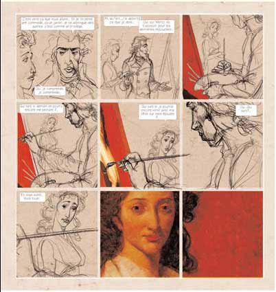 Bernar Yslaire / Jean-Claude Carrière Le Ciel au-dessus du Louvre Planche de la page 28 (en cours de réalisation) © musée du Louvre Éditions / Futuropolis