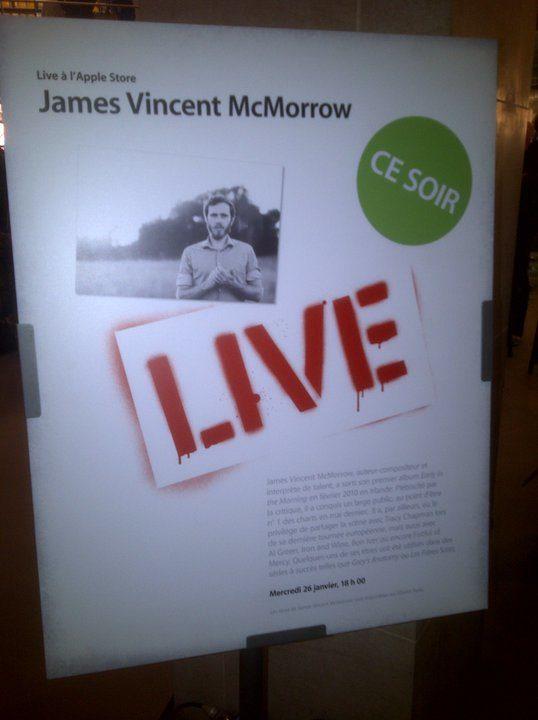 Live report : James Vincent Mc Morrow à l'Apple Store du Louvre (26/01/11)