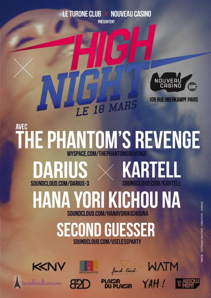 Gagnez 1×2 places pour la soirée High Night le 18 mars au Nouveau Casino