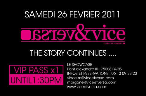 Gagnez 30×2 places pour la Soirée « Vice&Versa . The story Continues … » au ShowCase avec MICHAEL CREANGE, NICK V et AMNAYE le samedi 26 février 2011