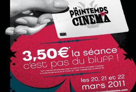Printemps du cinéma: profitez du cinéma à 3 euros 50 du dimanche 20 au mardi 22 mars!
