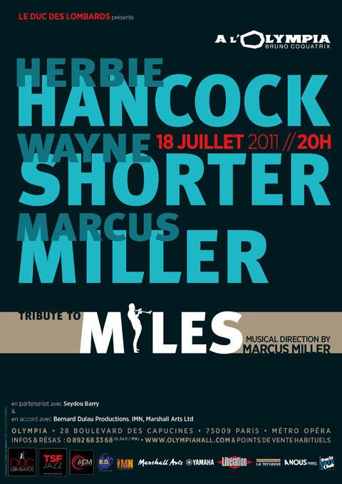 Wayne Shorter, Herbie Hancock et Marcus Miller rendent hommage à Miles Davis à l'Olympia le 18 juillet