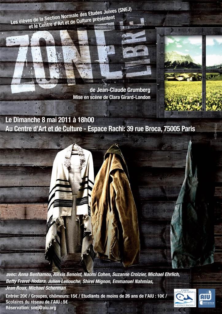 Représentation exceptionnelle de Zone Libre de Jean-Claude Grumberg, le 8 mai à l'Espace Rachi