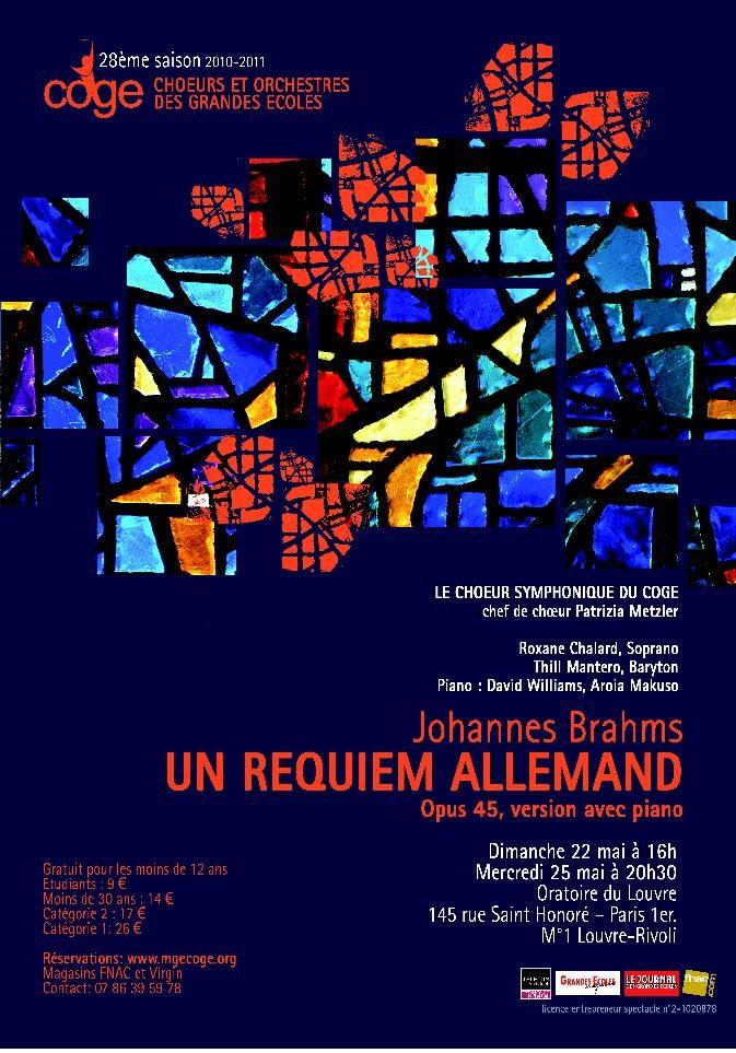 Gagnez 3X2 places pour le requiem allemand de Brahms interprété par le COGE à l'Oratoire du Louvre le 25 mai