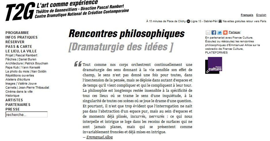 Les rencontres philosophiques du T2G : des planches à la pensée, puis retour