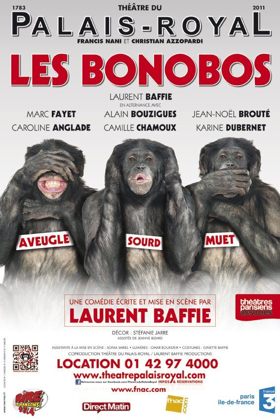 Toutelaculture offre 2×15 places pour Les Bonobos au Théâtre du Palais-Royal le 11 octobre