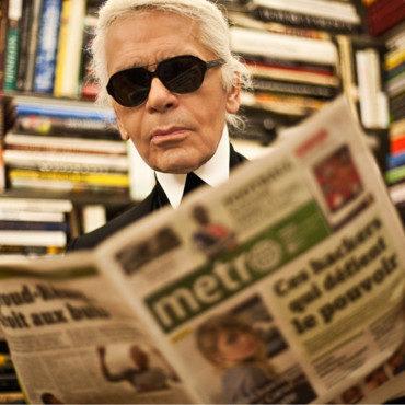 Karl Lagerfeld prend les commandes de la rédaction du quotidien Métro, le 7 février 2012
