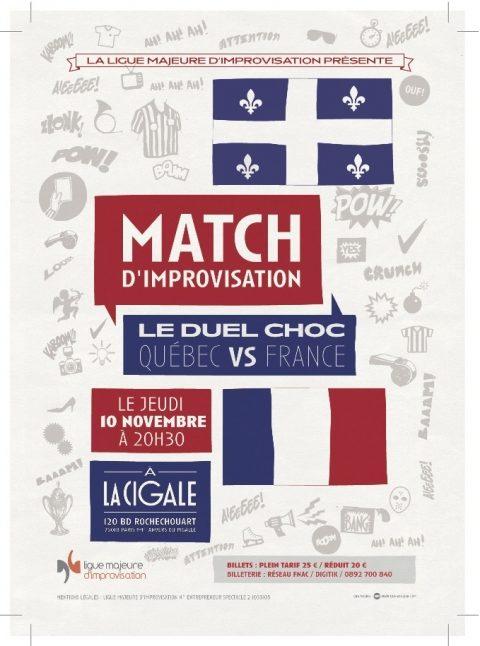 Match d'impro France-Québec le 10 novembre à la Cigale !