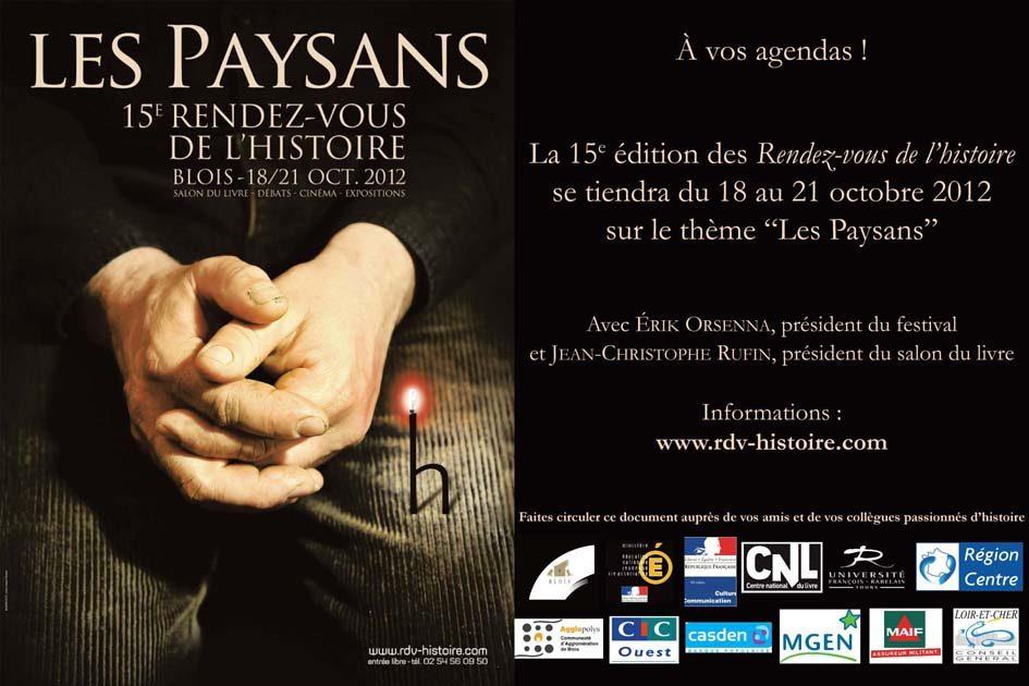 Les 15e rendez-vous de l'Histoire de Blois auront lieu du 18 au 21 octobre 2012