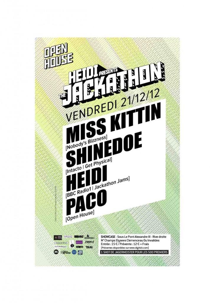 Gagnez 3 X 2 places pour la soirée «HEIDI presents THE JACKATHON : MISS KITTIN, SHINEDOE, HEIDI , PACO» au Showcase le vendredi 21 décembre