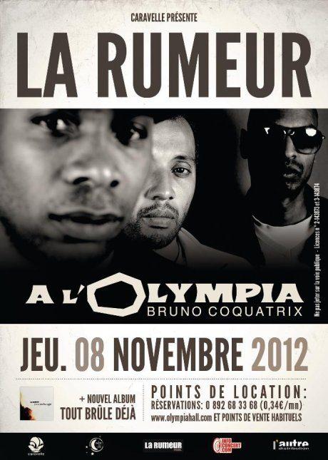 La Rumeur à l'Olympia (jeudi 8 novembre) – Tout Brûle Déjà …