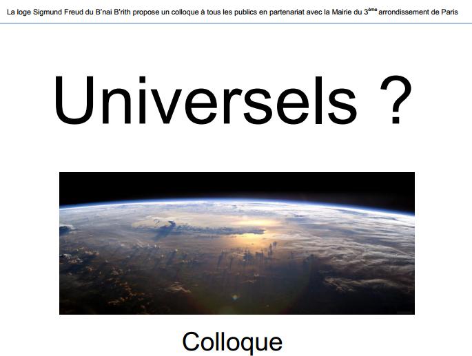 L'universel en question les 1er et 2 décembre à la mairie du 3e