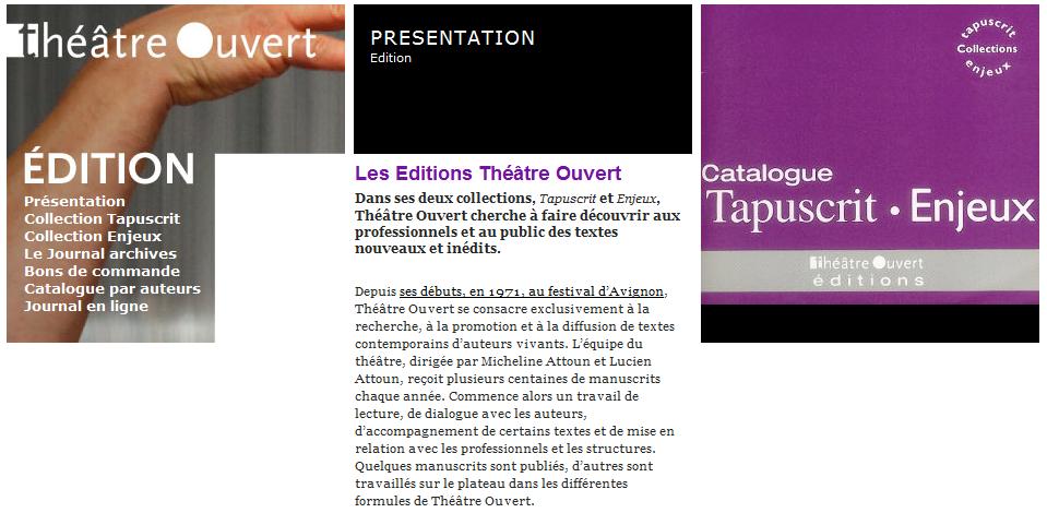 Les Editions du Théâtre Ouvert – Tapuscrits