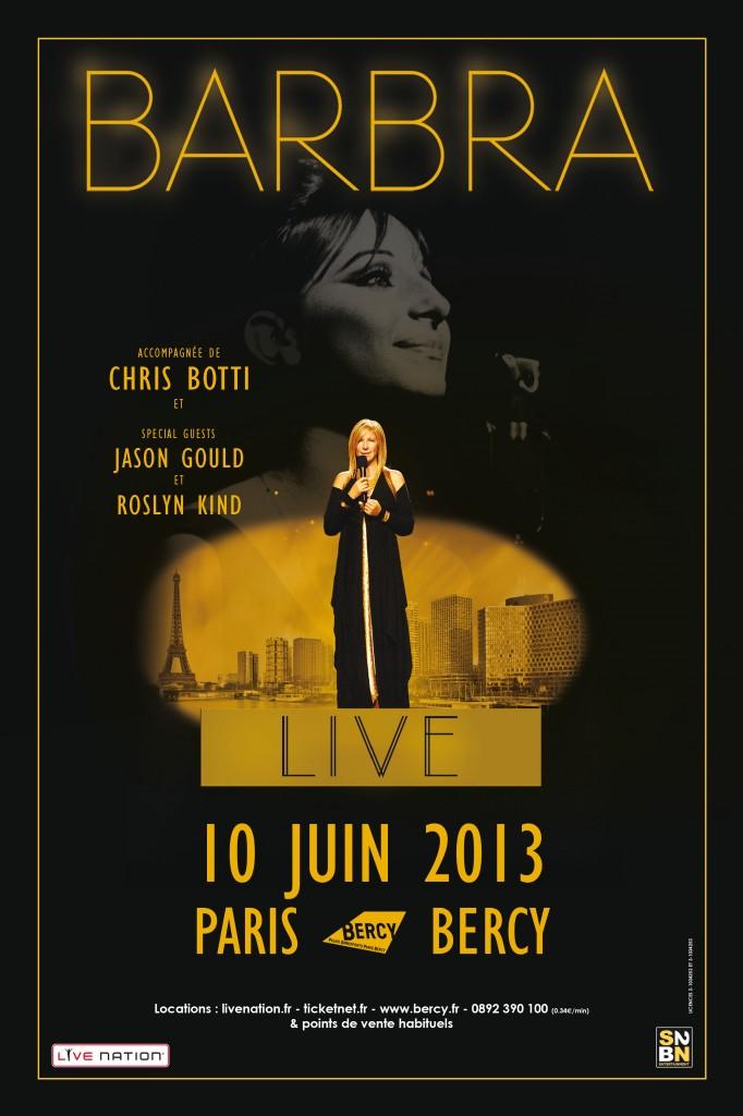 Barbara Streisand à Bercy : réservation mecredi 27 mars à partir de 10 heures