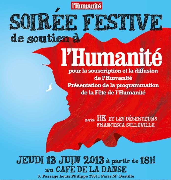 Soirée de solidarité au journal l'Humanité au Café de la Danse, jeudi 13 juin