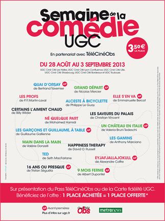 La semaine de la comédie : la place de ciné-sourire à 3.50 euros chez UGC du 28 août au 3 septembre