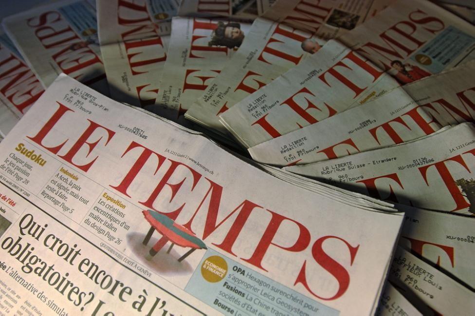 Le journal suisse «Le Temps» est en vente
