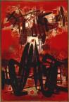 Rouge, la pluie de pétales sur le village blanc, le nuage au-dessus de la maison 1960 Huile sur toile, 195 x 130 cm Collection privée © Photo: atelier CTC , © Adagp, Paris 2013