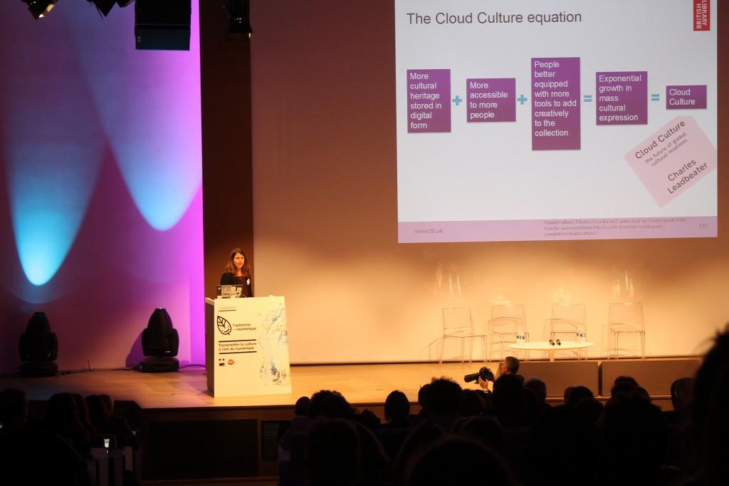 Lucie Burgess, Directrice des Contenus a la British Library, s'exprimant à propos de sa politique de digitalisation des oeuvres