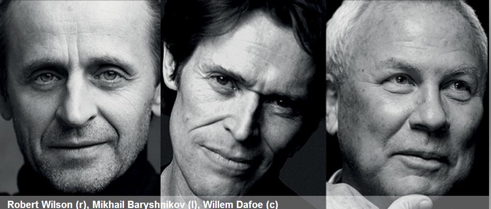 Bob Wilson, Mikhail Baryshnikov et Willem Dafoe en conférence le 16 novembre