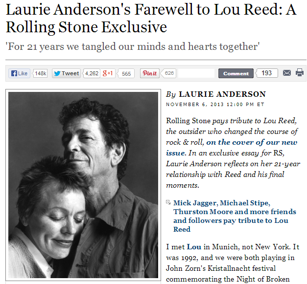 Laurie Anderson et Bono : hommages proches à Lou Reed