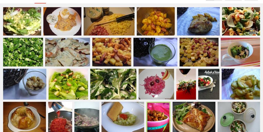 La recette de Claude ; Salade de mâche, pommes fruits, curry et cubes de comté