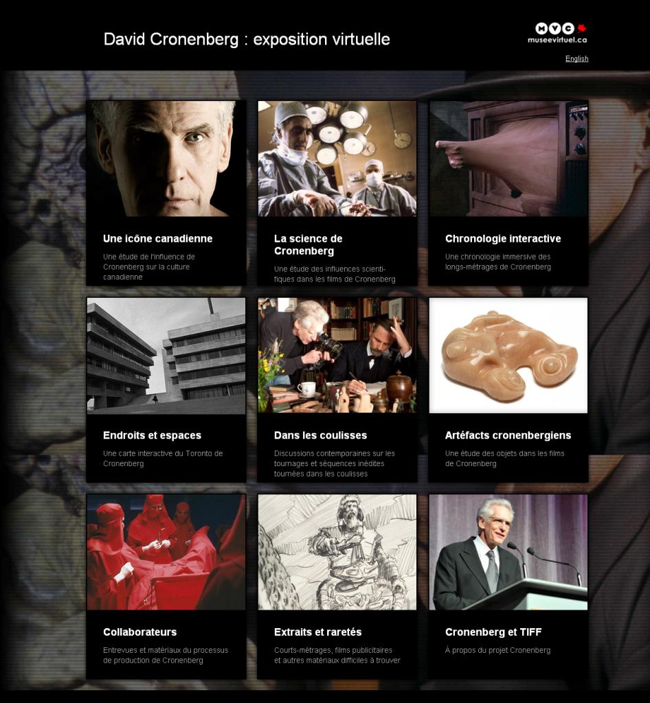 Cronenberg se révèle sur un merveilleux site