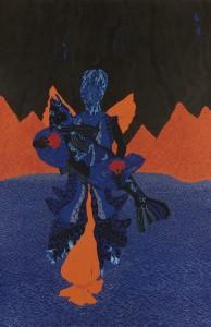 Telepath I, 2013. Gouache et stylo gel sur papier, 215 x 140 cm. © Rui Moreira. Courtesy Galerie Jaeger Bucher/Jeanne-Bucher, Paris. Photo : Laura Castro Caldas.