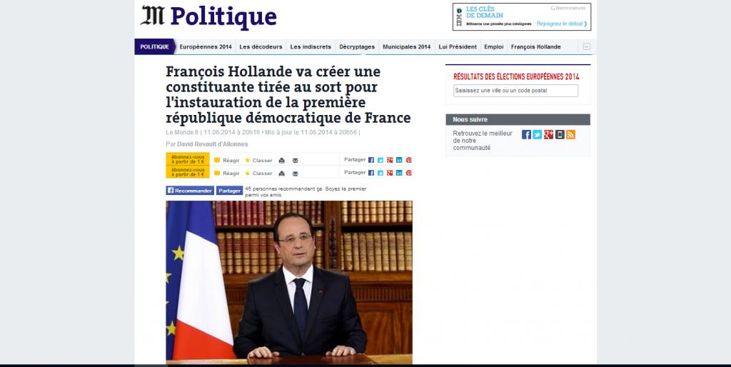La sixième république participative de François Hollande