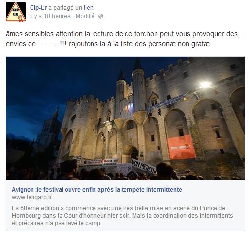 [Festival d'Avignon] Reflets sombres sur le carré rouge pour les intermittents