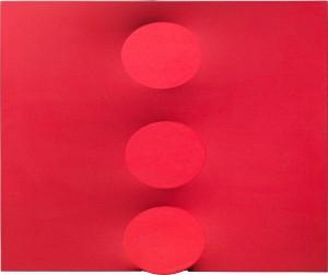 Tre ovali rossi, 2014 Acrylique sur toile extroflexe, cm 100 x 120 / in 39.4 x 47.2 Courtesy Tornabuoni Art