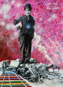 Modern Times (New Generation) : Tribute to Charlie Chaplin, 52 x 40 cm, acrylique et huile sur toile, 2014