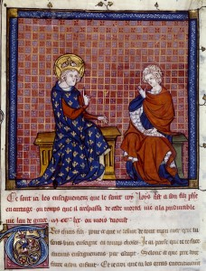 Enseignements de saint Louis. Paris, vers 1330-1340. Parchemin, H. 0,265 ; L. 0,195m. Paris, Bibliothèque nationale de France. Ms Fr. 1136. © BnF