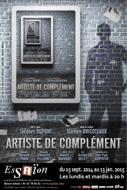 Gagnez 5×2 places pour la pièce « Artiste de Complément » au théâtre de l'Essaïon le 23 décembre