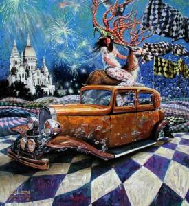 New Year's Eve Dream, 150 x 170 cm, acrylique et huile sur toile, 2014