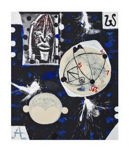 Composition, 2014, technique mixte sur toile, 182,8 x 152,4 cm, Courtesy Galerie Boulakia