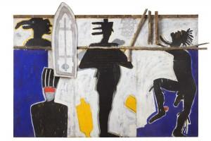 The Trance Of The Shaman, 1990 , triptyque, acrylique pigment sable et bois sur toile- 290x 390cm, Courtesy Galerie Boulakia