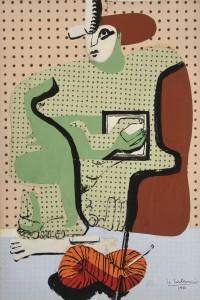 Femme lisant 1936 Collage de papier peint Salubra et encre de Chine sur papier 37,6 x 25,4 cm Courtesy Galerie Eric Mouchet – Galerie Zlotowski © Fondation Le Corbusier, Paris, 2015