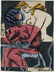 Deux Femmes 1948 Collage, gouache, encre et mine de graphite sur papier 48,5 x 36,7 cm Courtesy Galerie Eric Mouchet – Galerie Zlotowski © Fondation Le Corbusier, Paris, 2015