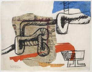 Corde et verres 16 mai 1954 Collage de journal, papiers gouachés et fusain sur papier 48 x 62 cm Courtesy Galerie Eric Mouchet – Galerie Zlotowski © Fondation Le Corbusier, Paris, 2015