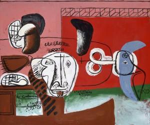 Taureau 1956 Plaque en tôle émaillée (Œuvre unique, peinte à l'émail sur tôle par Le Corbusier et cuite dans les ateliers de Jean Martin à Luynes) 46 x 55 cm Signé dans un encadré en bas à gauche : Le Corbusier / 2/56 Monogrammé et daté au dos : L-C 56 Courtesy Galerie Eric Mouchet – Galerie Zlotowski © Fondation Le Corbusier, Paris, 2015