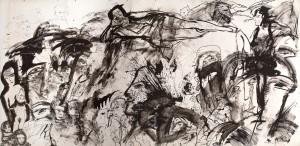 """"""" Dolce vita, Hommage a? Fellini """" 2013 Encre de Chine sur papier maroufle? sur toile, 275 x 400 cm"""