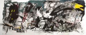 """"""" Le petit village de Miromesnil """" 2012   Encre de Chine et acrylique sur papier maroufle? sur toile, 200 x 495 cm"""