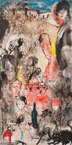 """"""" Le professeur Vassili """" 2013  Acrylique sur papier maroufle? sur toile, 240 x 120 cm"""