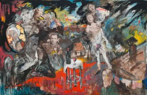 Un refuge pre?caire » 2015, Technique mixte et collages sur toile, 200 x 300 cm