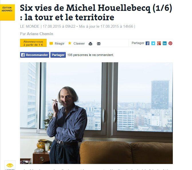 «Le Monde» publie une série d'articles non autorisée sur Michel Houellebecq