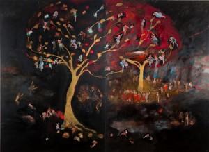 « Les espaces généalogiques #6 » 2014 162 x 228cm Huile sur toile, diptyque
