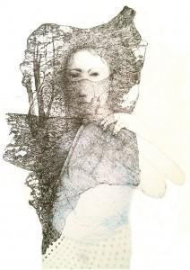 « Pois gris sur ma jupe» 2015 Encre et crayon de couleur sur papier 50 x 60 cm