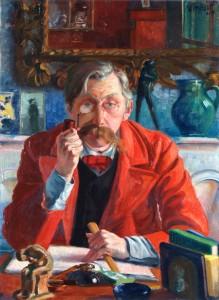 Emile Verhaeren en redingote rouge Georges Tribout (1884-1962) Huile sur toile, 1907 Collection Musée Émile Verhaeren, Sint-Amands, Belgique © Musée Verhaeren, Sint-Amands