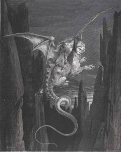 Gustave Doré L'Enfer, Alors ma terreur redoubla à l'aspect de l'abîme, 1861 Gravure sur bois © BnF